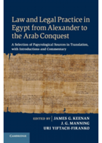 Obálka knihy  Law and Legal Practice in Egypt from Alexander to the Arab Conquest od , ISBN:  9781108464314